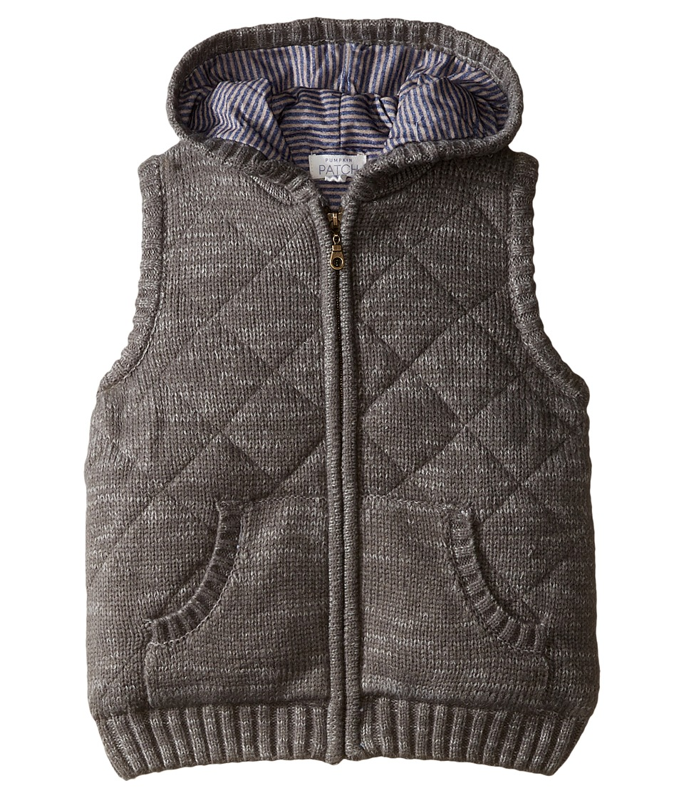 Pumpkin Patch Kids - Zip Front Hooded Vest (Infant/Toddler/Little Kids/Big Kids) (Concrete Marle) Boy's Vest