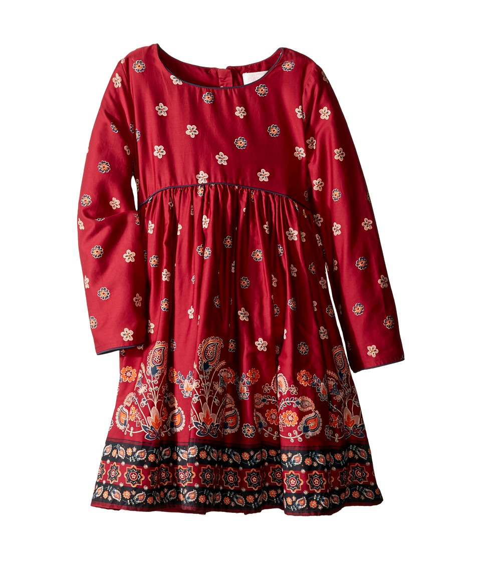 Pumpkin Patch Kids - Border Print Dress (Infant/Toddler/Little Kids/Big Kids) (Deep Claret) Girl's Dress