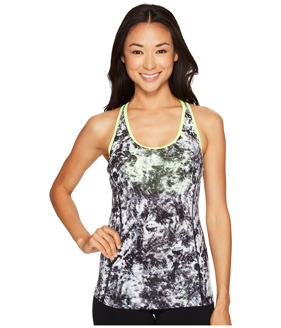 New Balance - Racerback Bra Top Printed (White Tie-Dye Floral) Women's Sleeveless