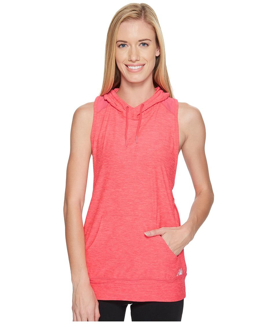 New Balance - Hooded Tank Top Pullover (Pomegranate Heather) Women's Sleeveless