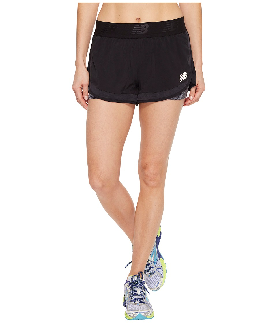 New Balance - Mixed Media 2-in-1 Shorts (Black) Women's Shorts