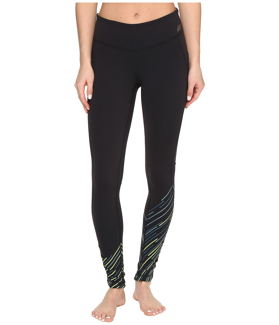 New Balance - Premium Performance Tight Print Pants (Black Sun Rays Stripe) Women's Casual Pants