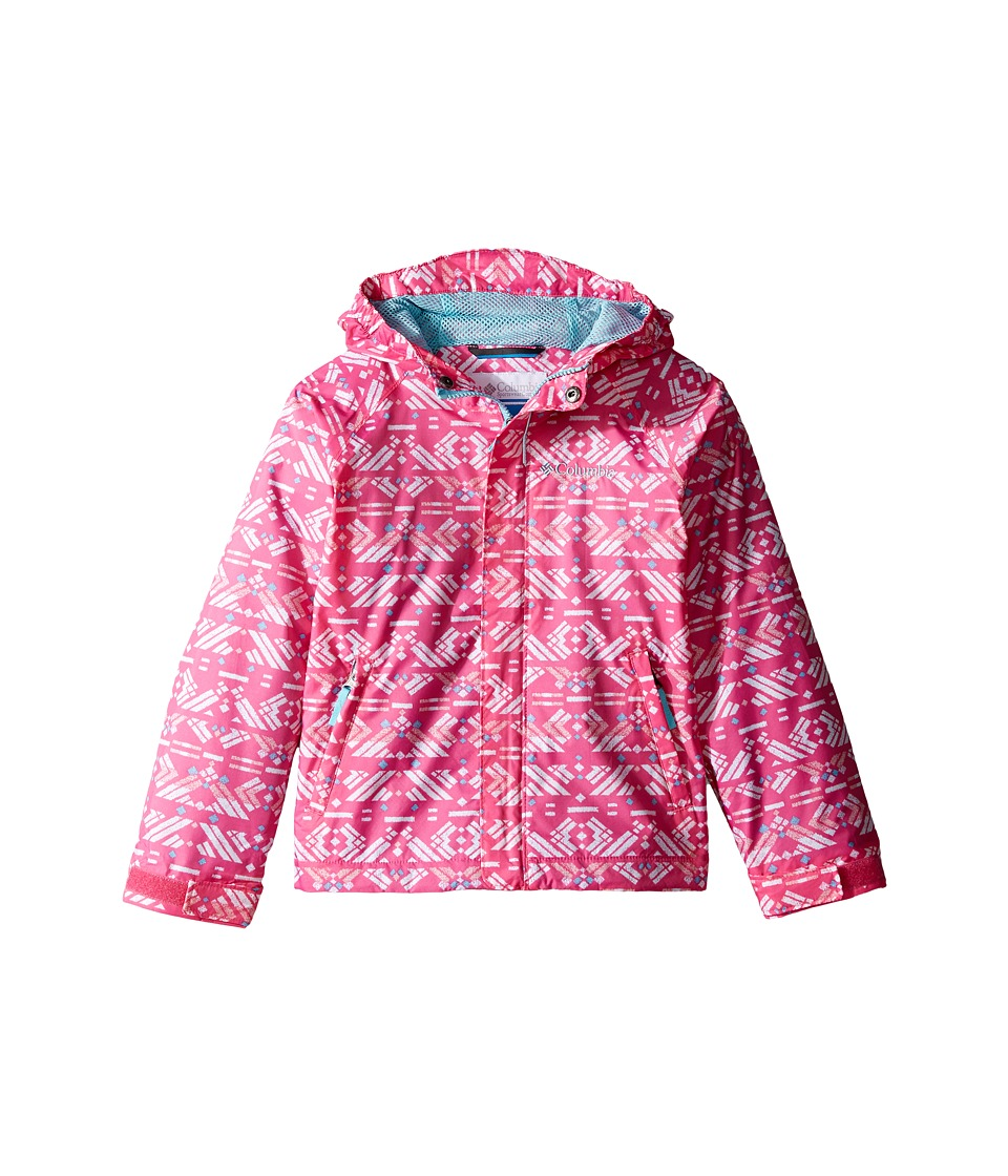 Columbia Kids - Fast Curious Rain Jacket (Little Kids/Big Kids) (Wild Geranium Print/Clear Blue) Girl's Coat