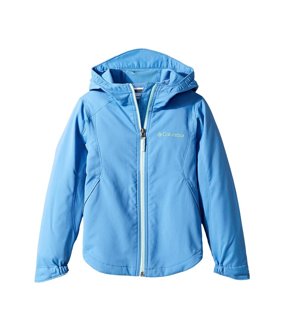 Columbia Kids Splash Flashtm II Hooded Softshell Jacket (Little Kids/Big Kids) (Medieval/Sea Ice) Girl