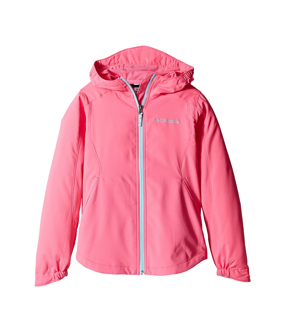 Columbia Kids - Splash Flashtm II Hooded Softshell Jacket (Little Kids/Big Kids) (Wild Geranium/Clear Blue) Girl's Coat