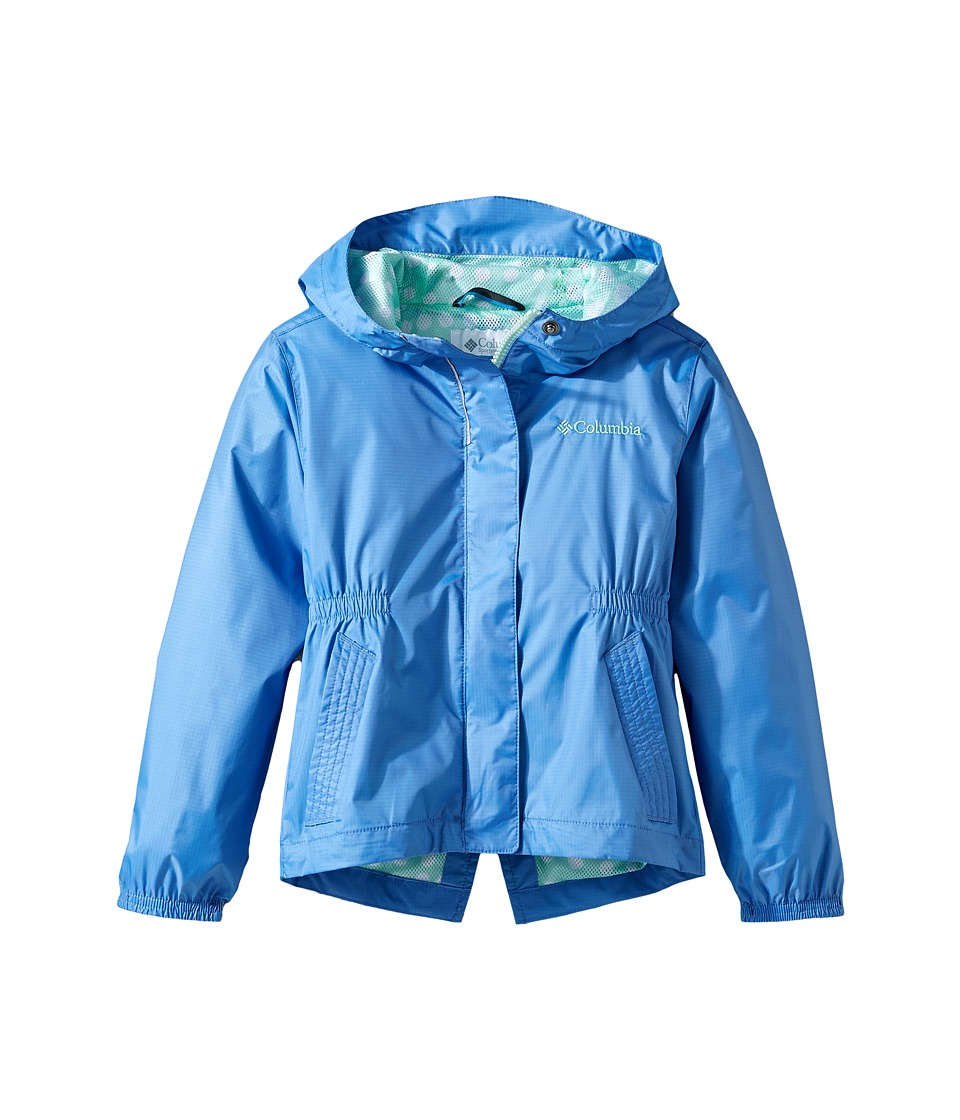 Columbia Kids - Explore Moretm Rain Jacket (Little Kids/Big Kids) (Medieval/Sea Ice Polka Dot) Girl's Coat
