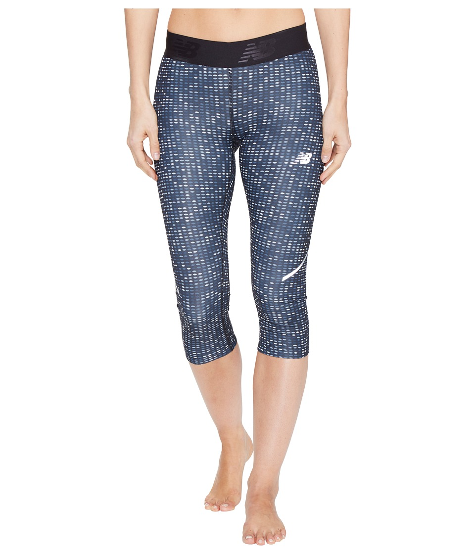 New Balance - Printed Accelerate Capris (Black Digital Ovals) Women's Capri