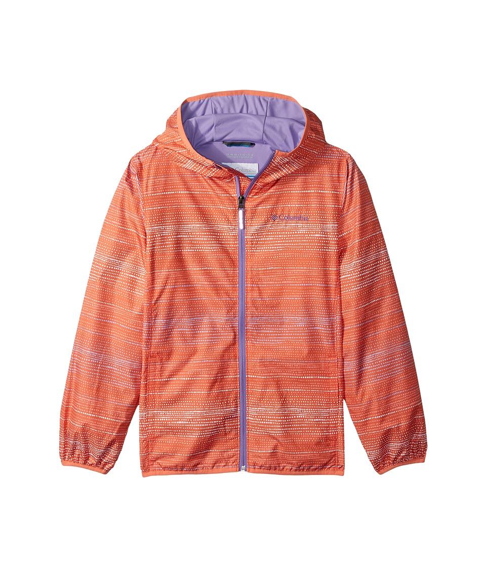 Columbia Kids - Pixel Grabbertm II Wind Jacket (Little Kids/Big Kids) (Lychee Dotty Dye Stripe/Lychee/Paisley Purple) Girl's Coat