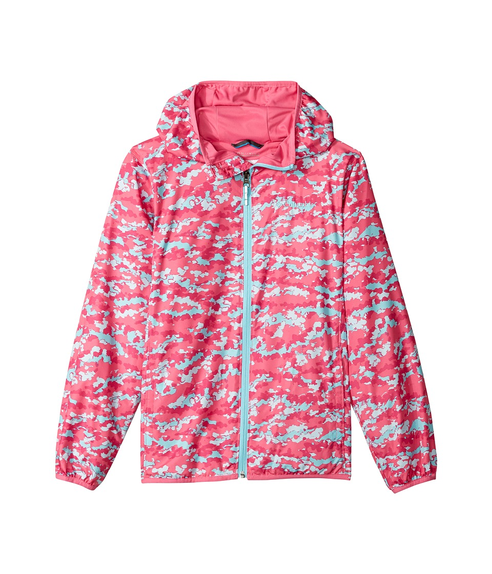 Columbia Kids - Pixel Grabbertm II Wind Jacket (Little Kids/Big Kids) (Wild Geranium Camo/Wild Geranium/Clear Blue) Girl's Coat