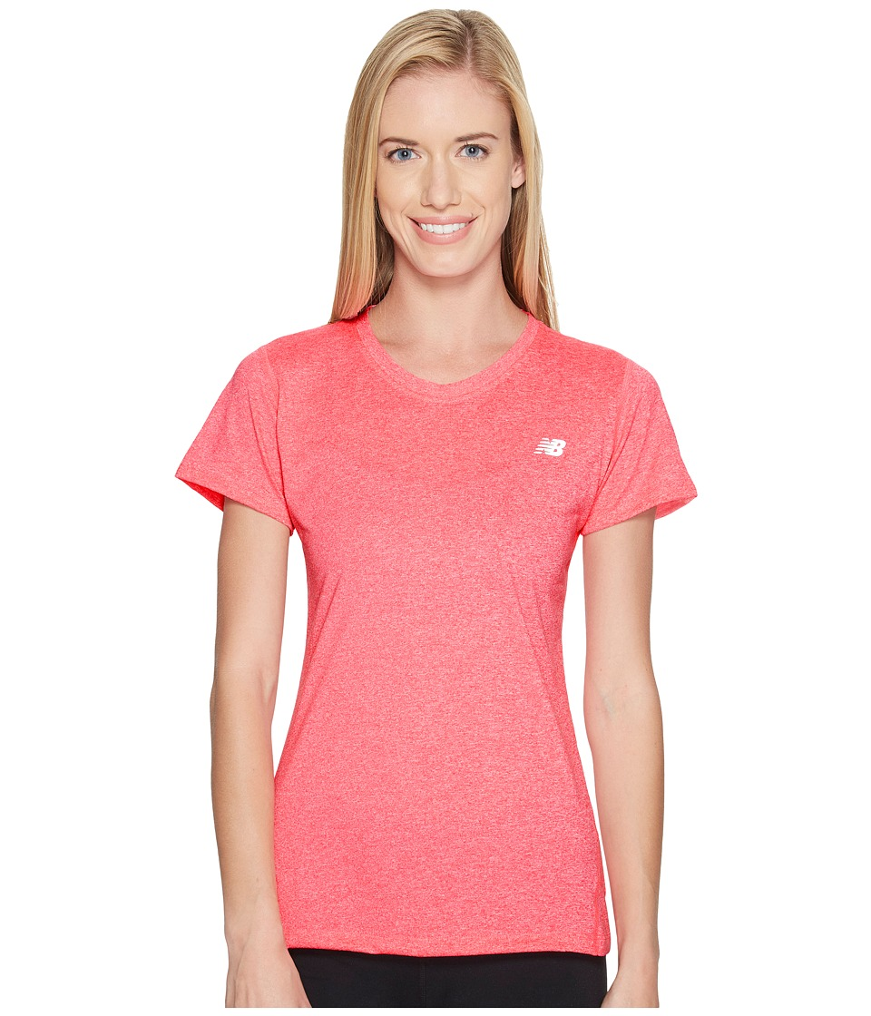 New Balance - Heathered Short Sleeve Tee (Alpha Pink Heather) Women's Short Sleeve Pullover