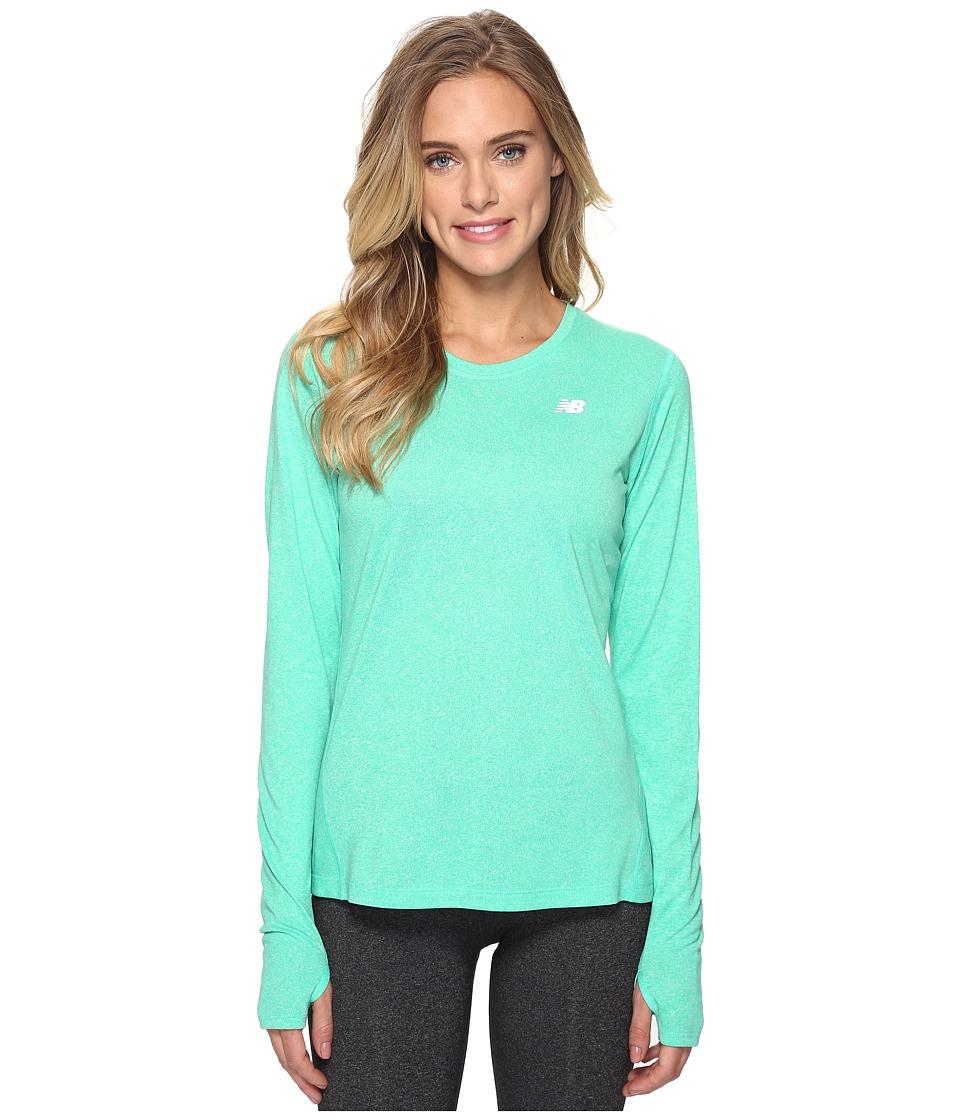 New Balance - Heathered Long Sleeve Shirt (Deep Jade Heather) Women's Long Sleeve Pullover