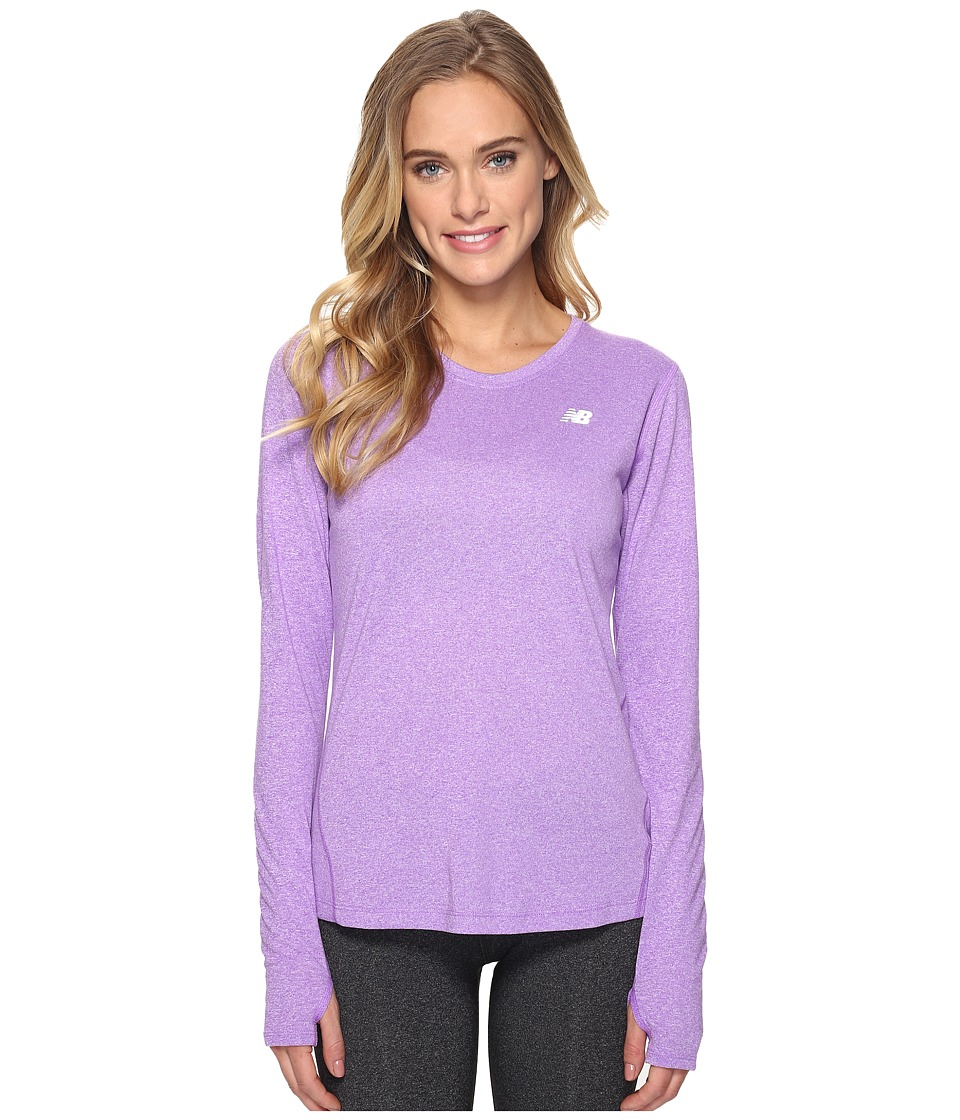 New Balance - Heathered Long Sleeve Shirt (Alpha Violet Heather) Women's Long Sleeve Pullover