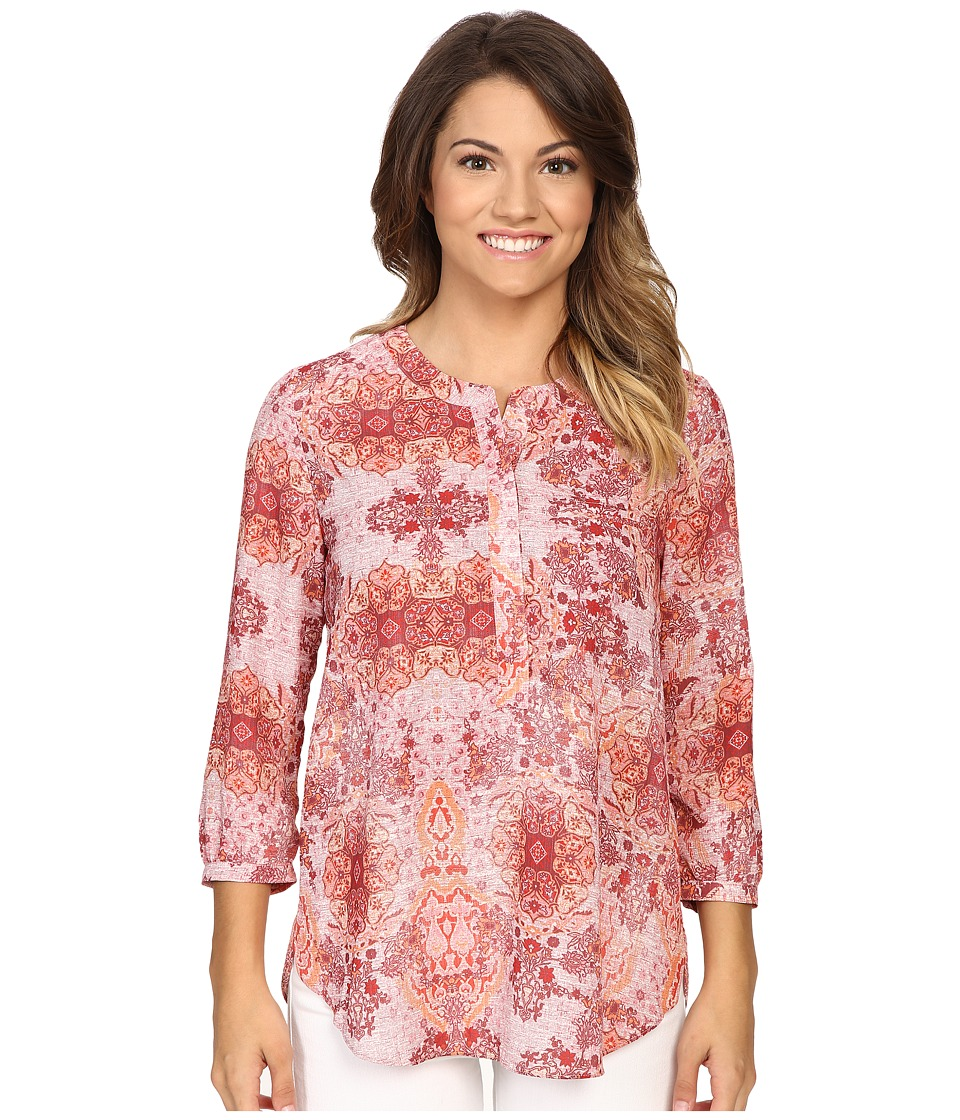 NYDJ Petite - Petite 3/4 Sleeve Pleatback Henley Blouse (Carousel Medallion Red) Women's Blouse