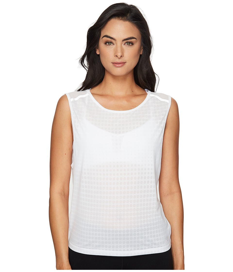 New Balance - D2D Run Sleeveless Top (White) Women's Sleeveless