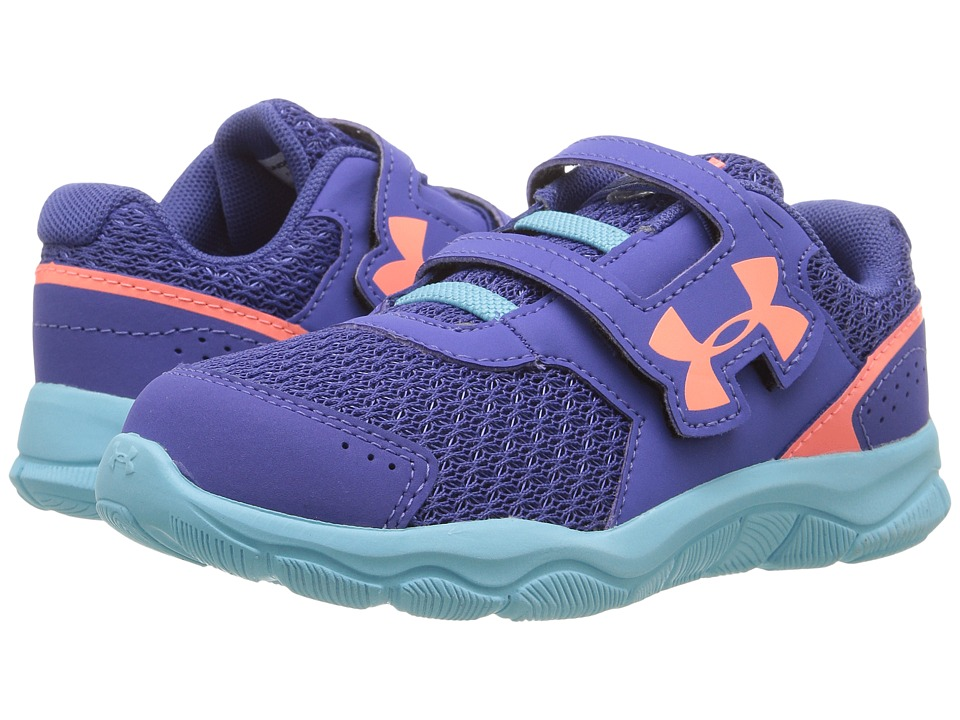 Under Armour Kids UA GINF Engage BL 3 AC (Toddler) (Deep Periwinkle/Venetian Blue/London Orange) Girls Shoes