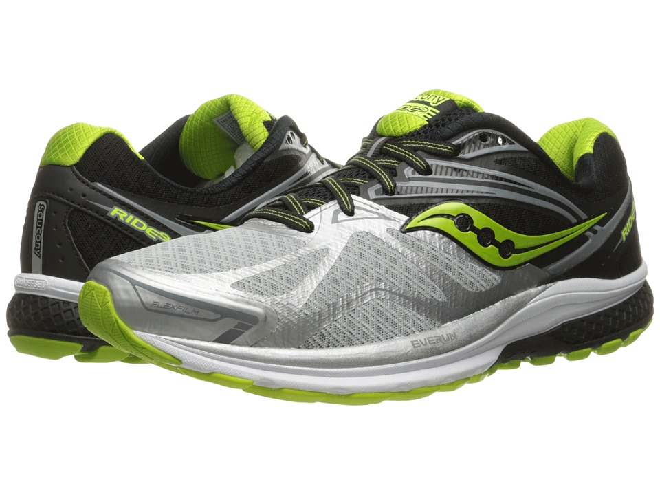 Saucony - Ride 9 (Silver/Black/Lime) Men's Running Shoes