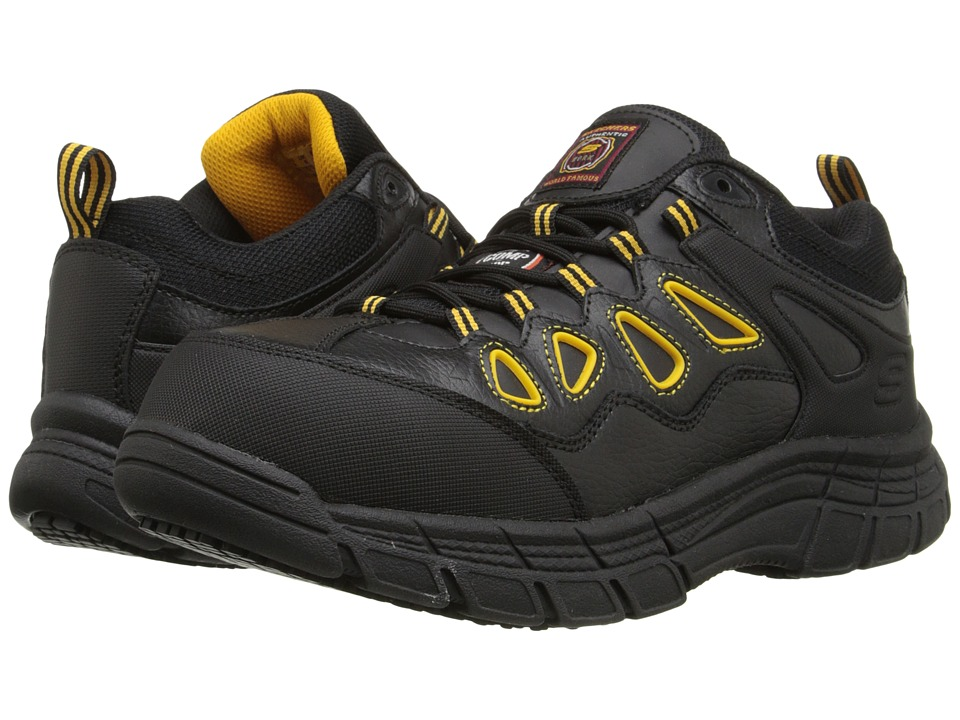 SKECHERS - Dunmor (Black Leather/Yellow Trim) Men's Shoes