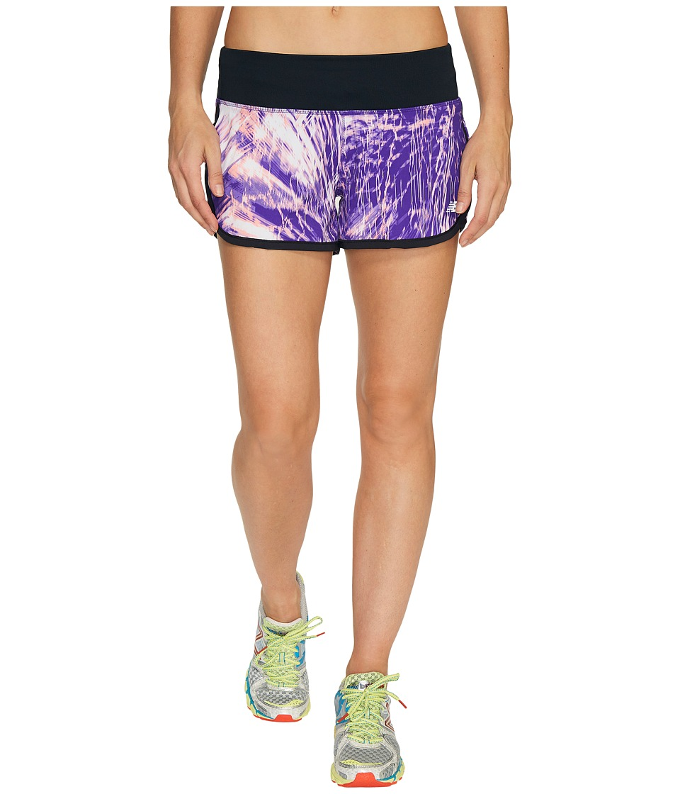 New Balance - Impact 3 Shorts Print (Electric Glow/Deeo Violet/Black) Women's Shorts