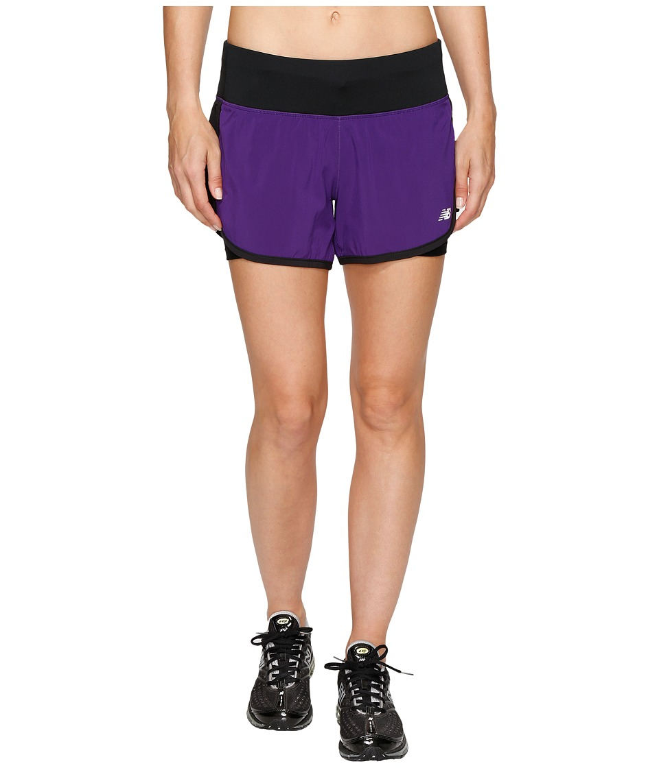 New Balance - Impact 4 2-in-1 Shorts (Black Plum/Black) Women's Shorts