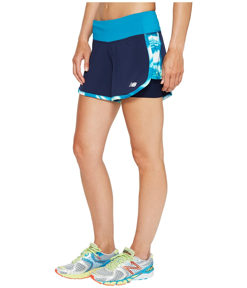 New Balance - Impact 4 2-in-1 Shorts (Pigment/Deep Ozone Waves) Women's Shorts