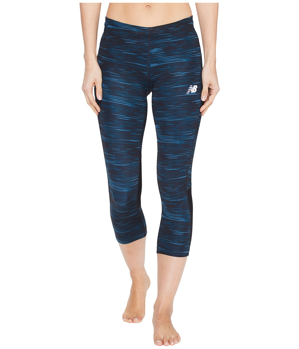 New Balance - Impact Capris Print (Black Intensity Stripe) Women's Capri