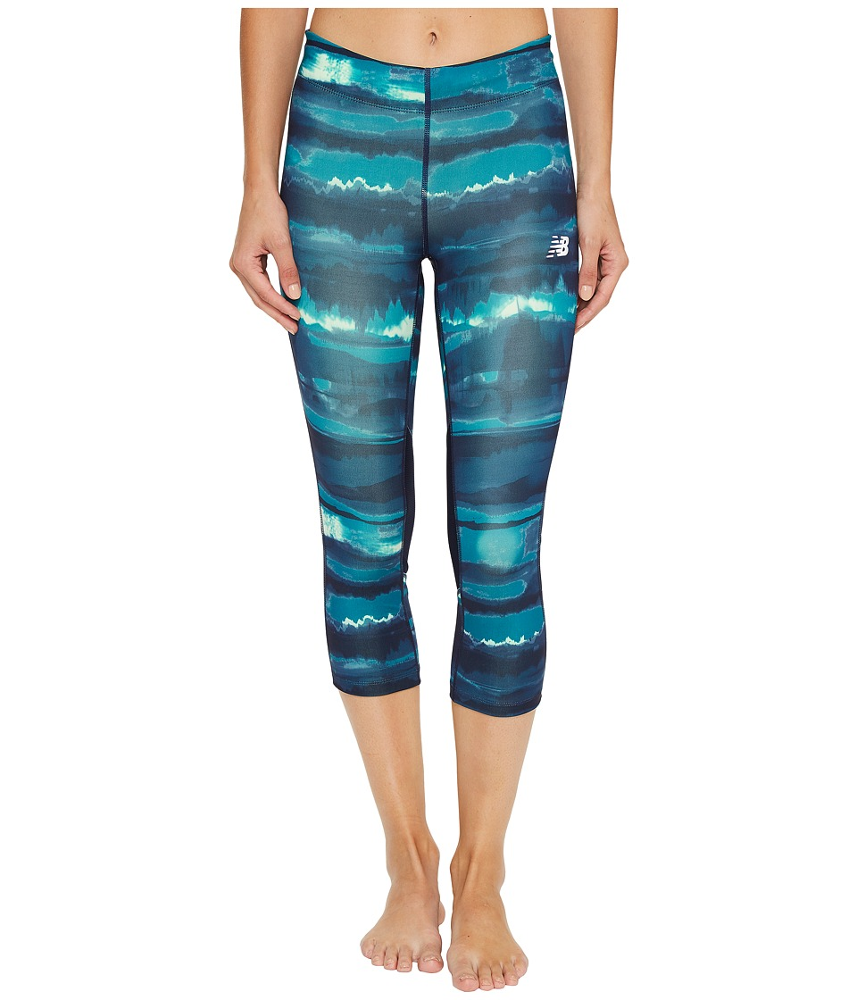 New Balance - Impact Capris Print (Deep Ozone Waves) Women's Capri