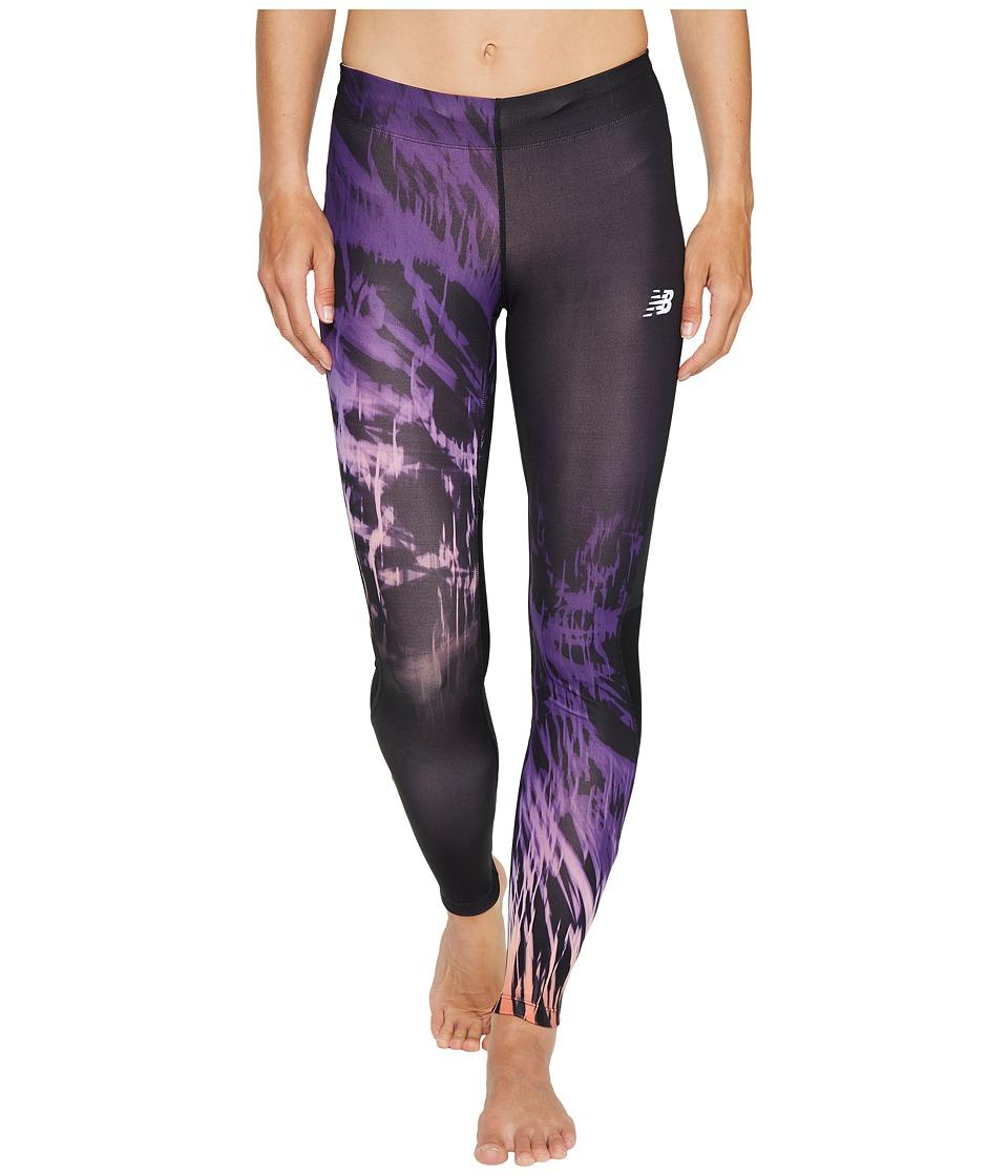 New Balance - Impact Premium Print Tights (Electric Glow/Black) Women's Workout