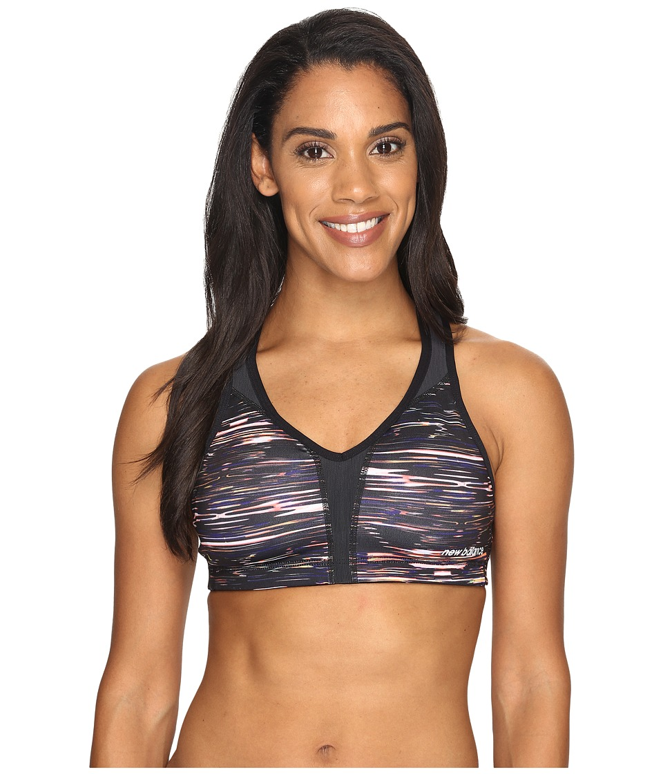 New Balance - Power Bra Printed (Multi Intensity Stripe/Black) Women's Bra
