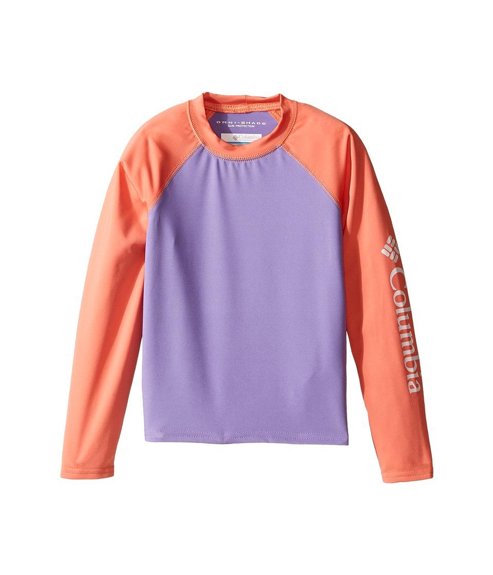 Columbia Kids - Mini Breakertm Long Sleeve Rashguard (Little Kids/Big Kids) (Paisley Purple/Lychee) Girl's Long Sleeve Pullover