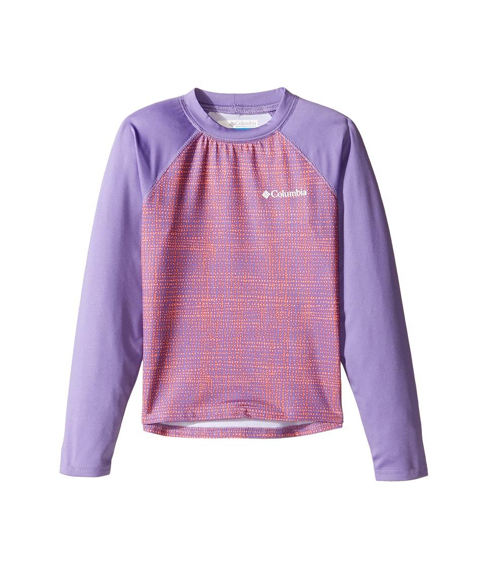Columbia Kids - Mini Breaker Printed Long Sleeve Sunguard (Little Kids/Big Kids) (Paisley Purple Dottycheck/Paisley Purple) Girl's Long Sleeve Pullover
