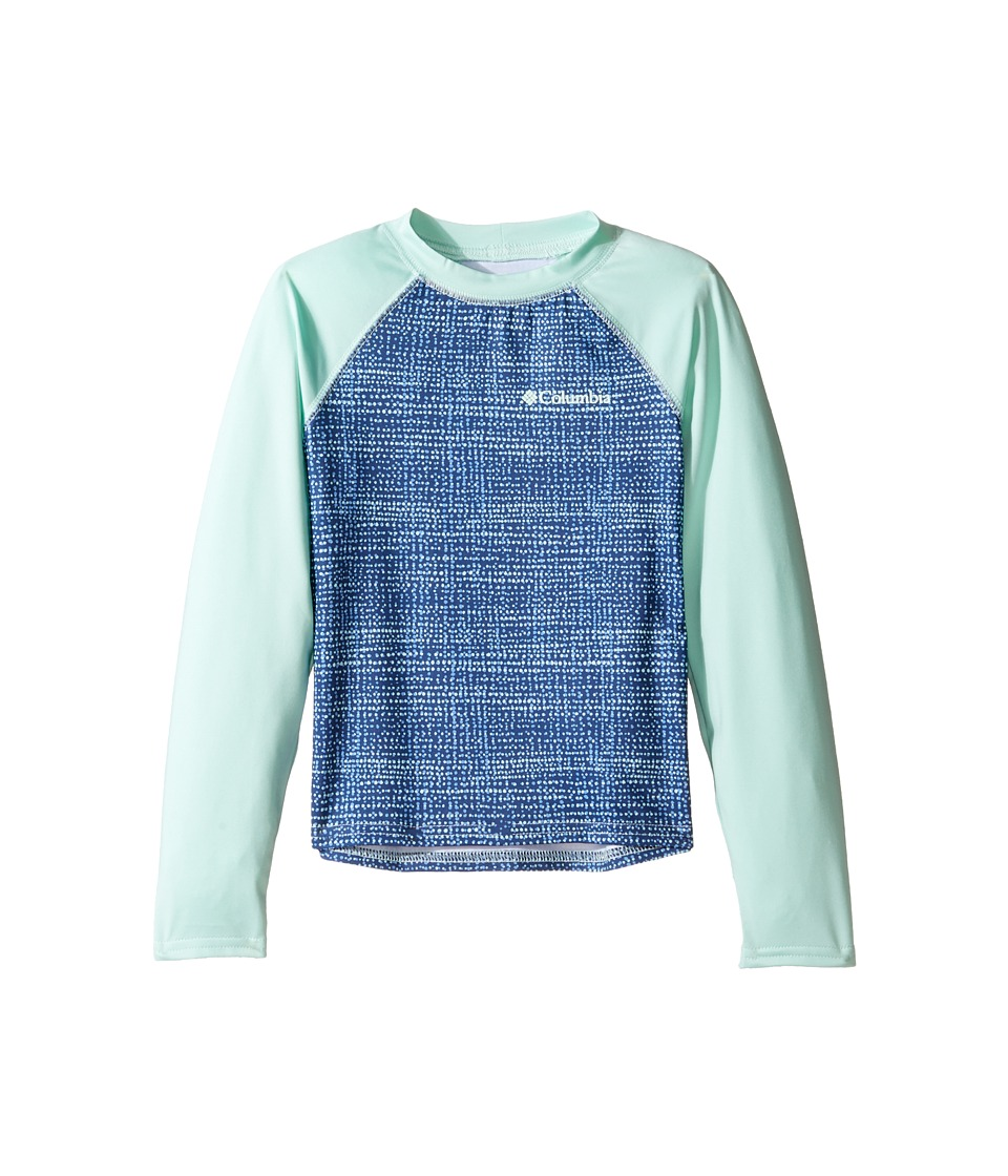 Columbia Kids - Mini Breaker Printed Long Sleeve Sunguard (Little Kids/Big Kids) (Medieval Dottycheck/Sea Ice) Girl's Long Sleeve Pullover