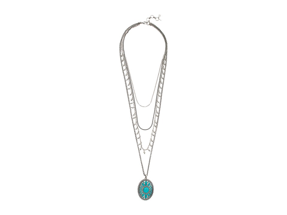 Lucky Brand - Turquoise Tribal Layer Pendant Necklace (Silver) Necklace