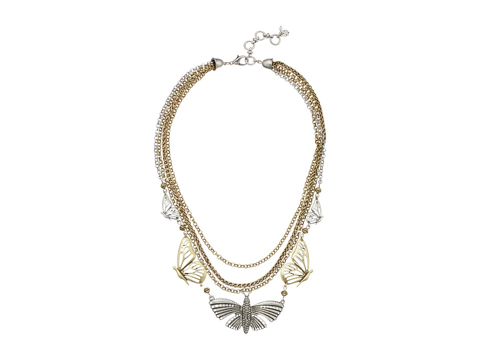 Lucky Brand - Mid Length Butterfly Necklace (Two-Tone) Necklace