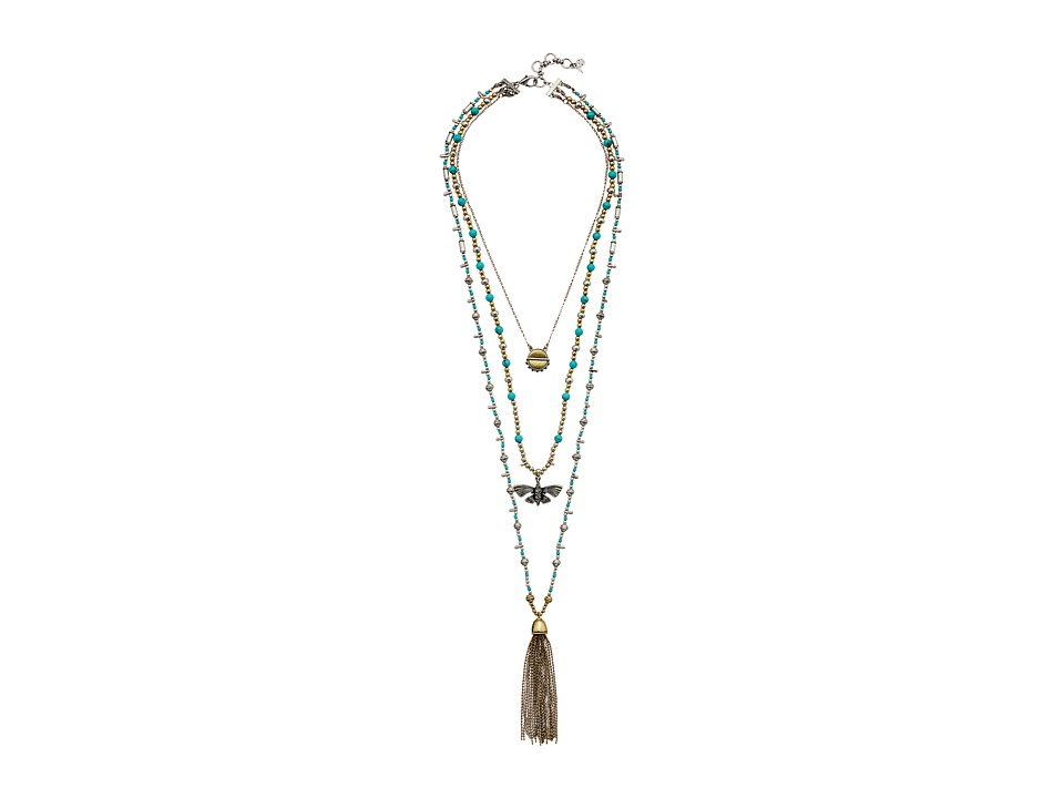 Lucky Brand - Turquoise Lucky Layer Necklace with Butterfly (Two-Tone) Necklace