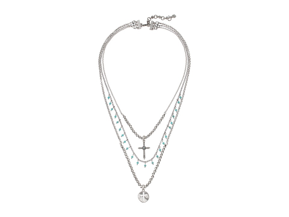 Lucky Brand - Cross Turquoise Necklace (Silver) Necklace