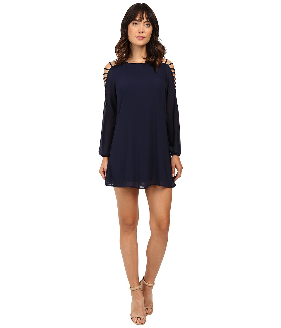 Brigitte Bailey - Sasha Strappy Long Sleeve Dress (Navy) Women's Dress