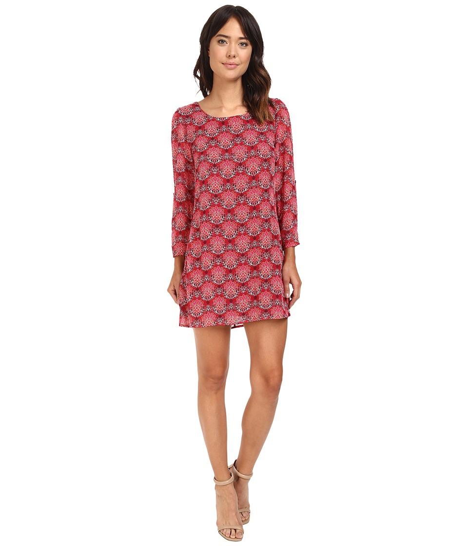 Brigitte Bailey - Drea 3/4 Sleeve Printed Dress (Wine/Fuchsia) Women's Dress