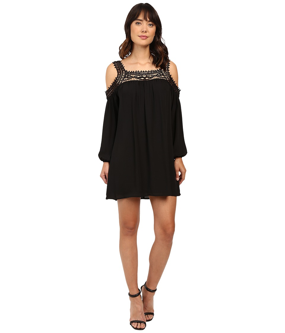 Brigitte Bailey - Tillie Crochet Trim Cold Shoulder Dress (Black) Women's Dress