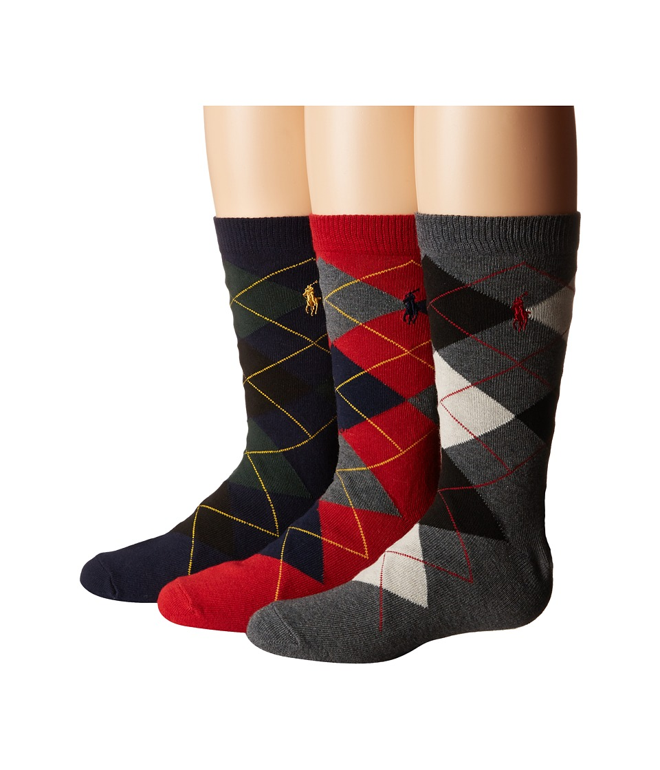 Polo Ralph Lauren - Argyle Slack 3-Pack (Toddler/Little Kid) (Multi 1) Men's Crew Cut Socks Shoes