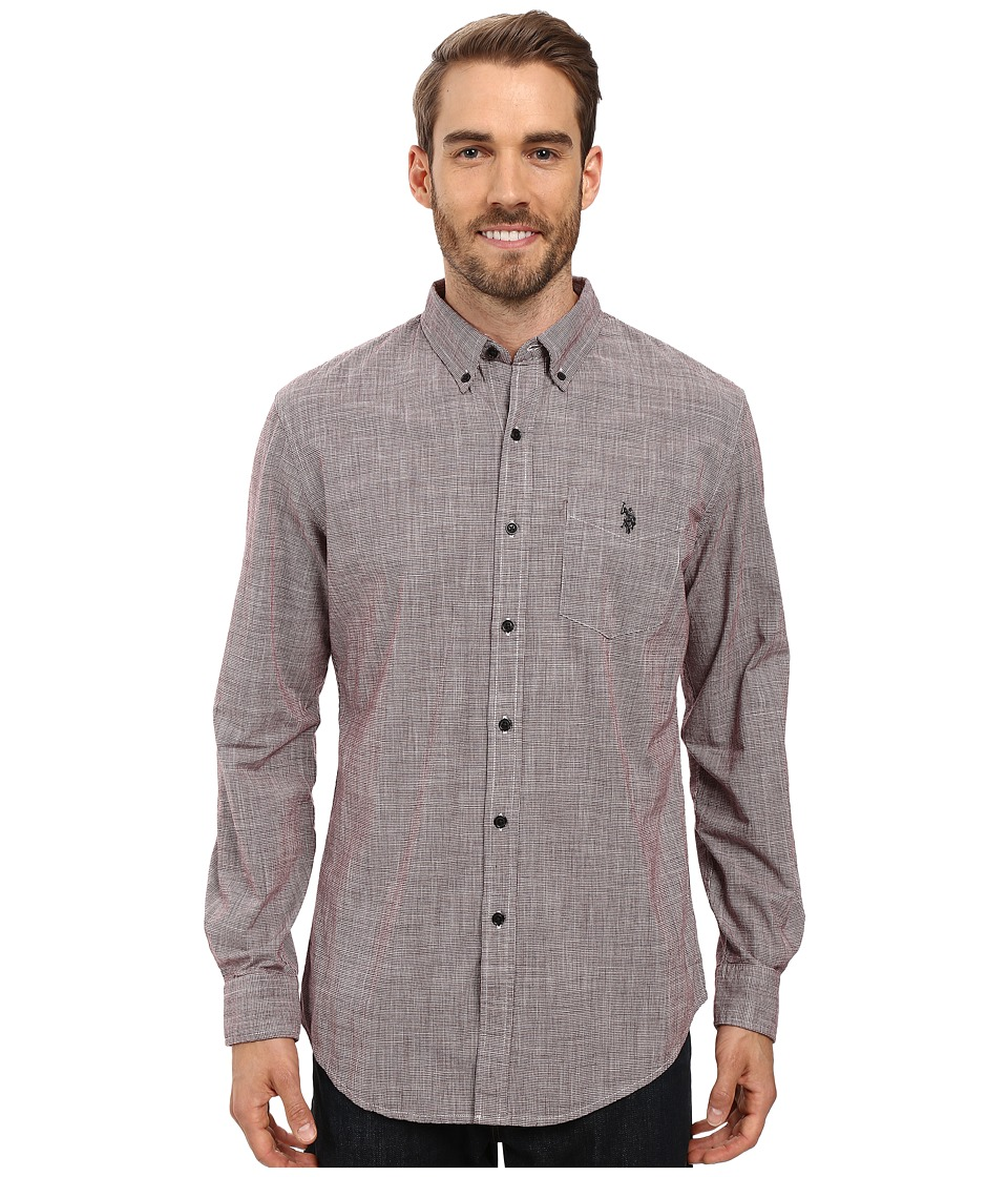 U.S. POLO ASSN. - Long Sleeve Classic Fit Hound's-Tooth Button Down Woven Shirt (Seagrams Burgundy) Men's Clothing