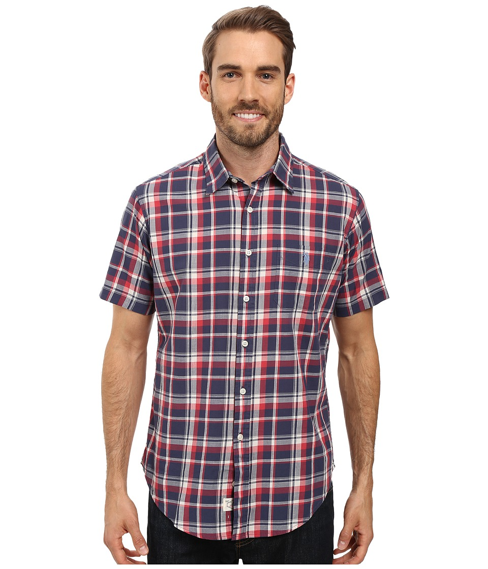 U.S. POLO ASSN. - Short Sleeve Classic Fit Plaid Poplin Sport Shirt (Mood Indigo) Men's Clothing