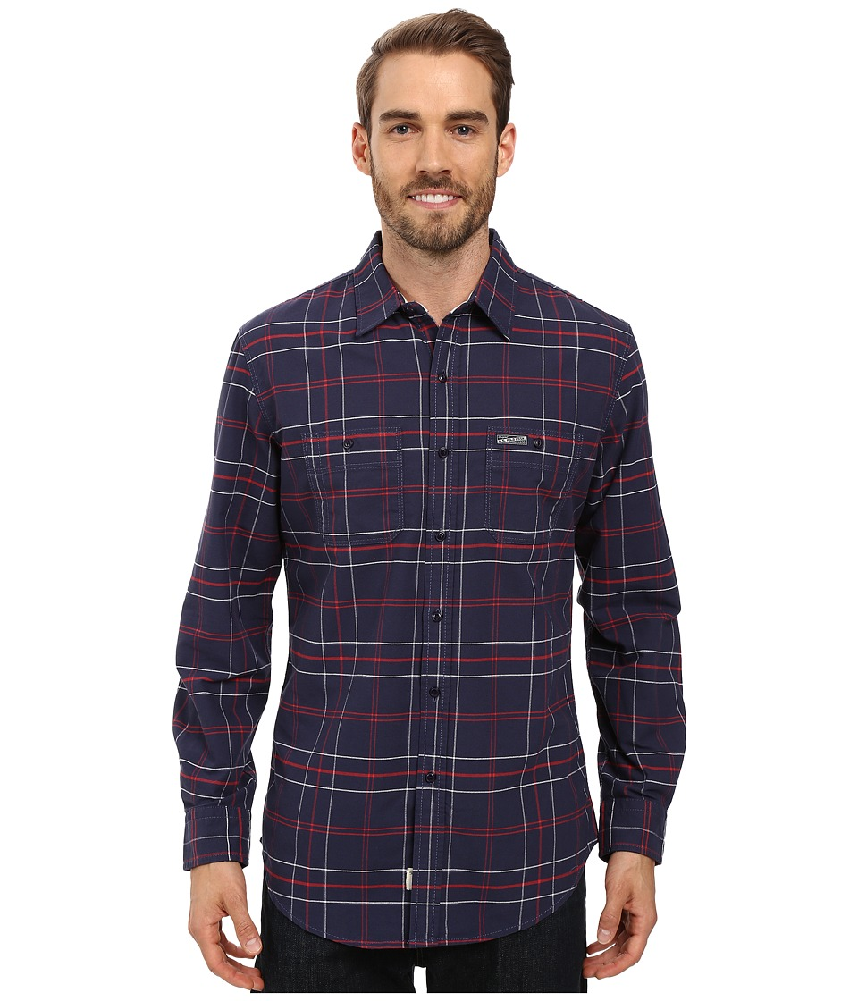 U.S. POLO ASSN. - Long Sleeve Plaid Oxford Cloth Straight Point Collar Sport Shirt (Mood Indigo) Men's Clothing