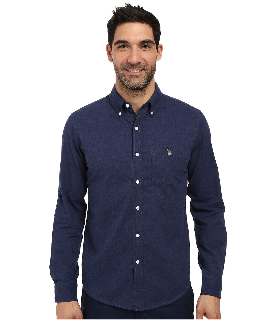 U.S. POLO ASSN. - Slim Fit Brushed Twill Button Down Collar Solid Woven Shirt (Midnight Heather) Men's Clothing