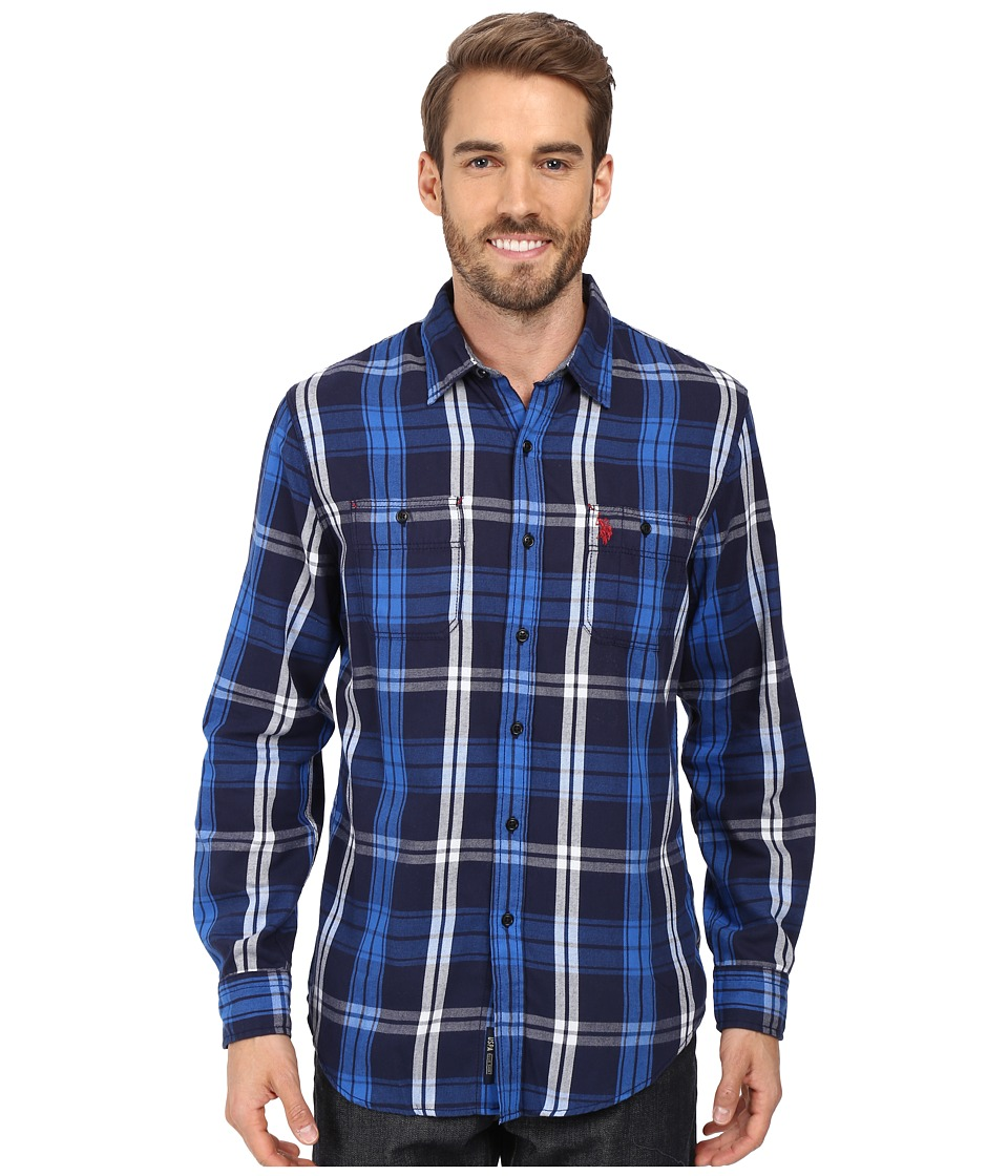 U.S. POLO ASSN. - Long Sleeve Classic Fit Plaid Peached Twill Straight Point Collar Sport Shirt (Classic Navy) Men's Clothing