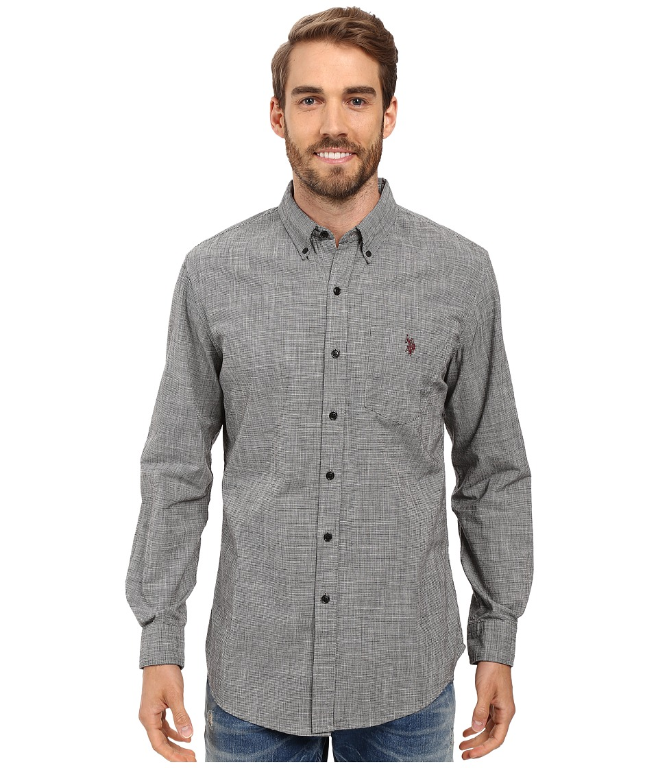 U.S. POLO ASSN. - Long Sleeve Classic Fit Hound's-Tooth Button Down Woven Shirt (Black) Men's Clothing