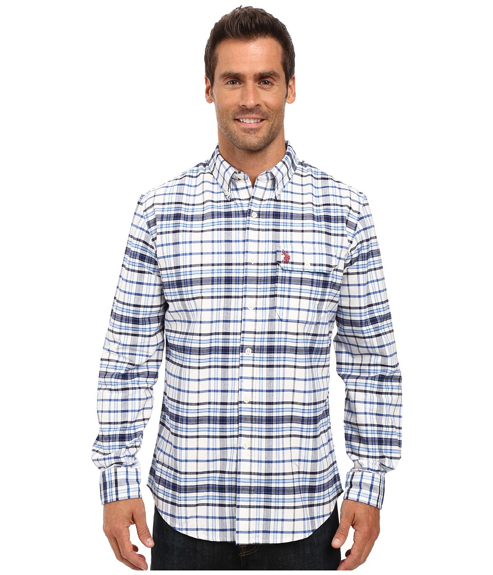 U.S. POLO ASSN. - Long Sleeve Plaid Oxford Cloth Button Down Woven Shirt (Classic Navy) Men's Clothing