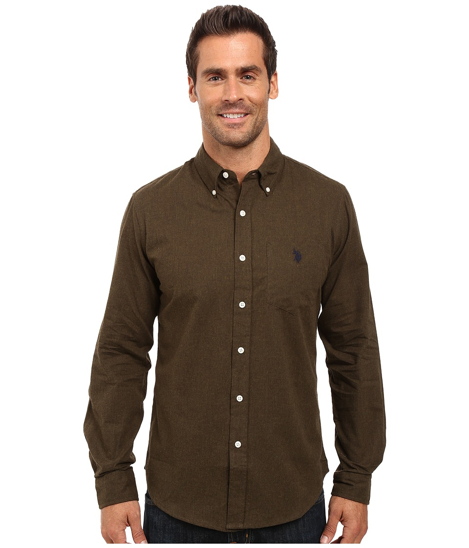 U.S. POLO ASSN. - Slim Fit Brushed Twill Button Down Collar Solid Woven Shirt (Dark Olive Heather) Men's Clothing