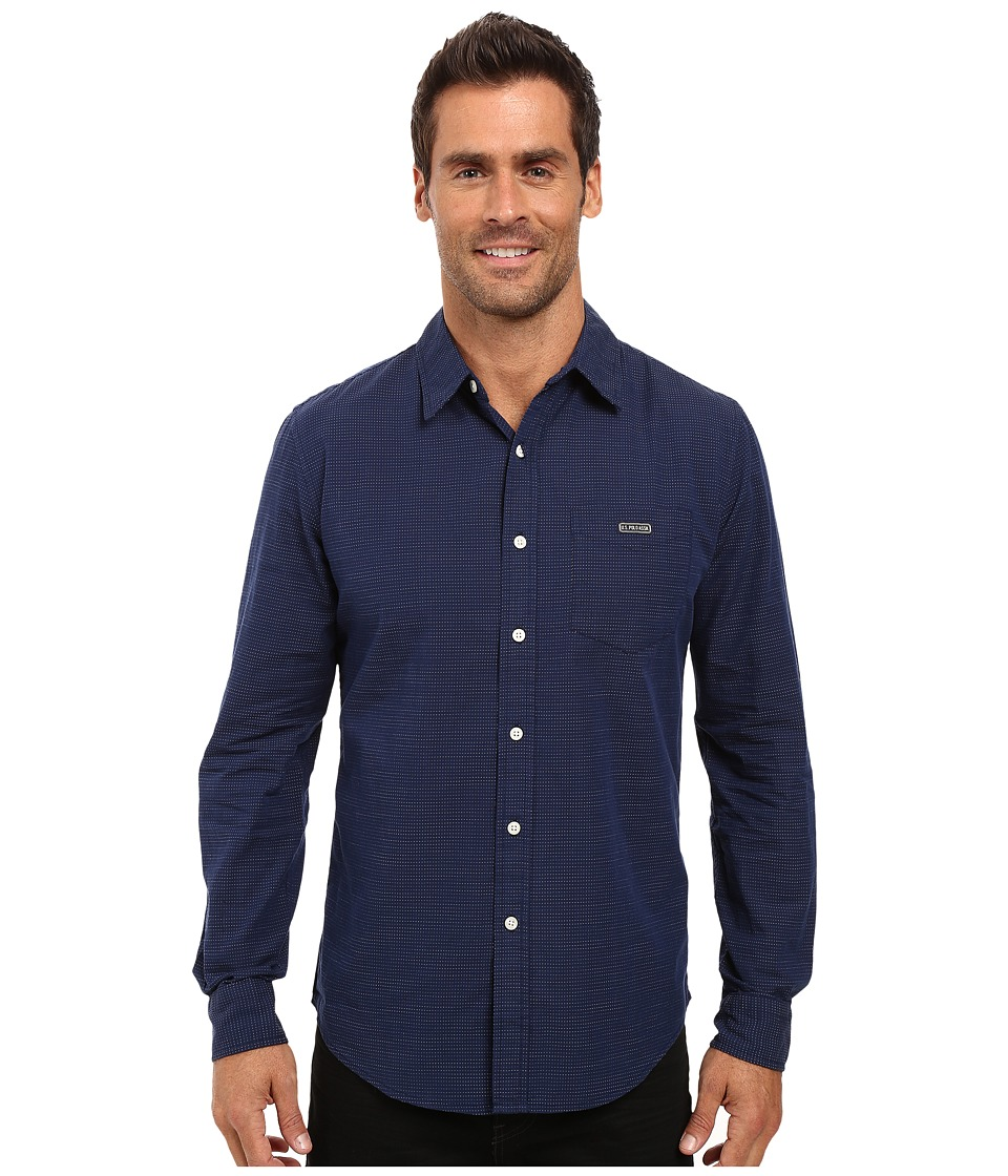 U.S. POLO ASSN. - Long Sleeve Slim Fit Cotton Dobby Straight Point Collar Sport Shirt (Classic Navy) Men's Clothing