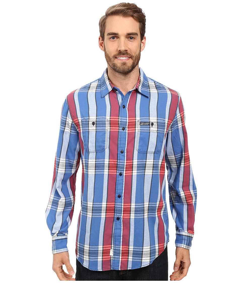 U.S. POLO ASSN. - Long Sleeve Slim Fit Brushed Twill Plaid Sport Shirt (Bright Cobalt) Men's Clothing