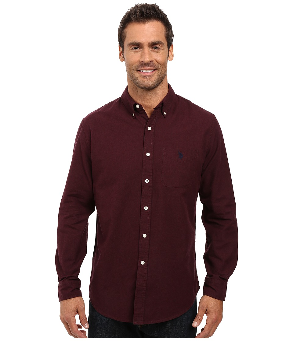 U.S. POLO ASSN. - Long Sleeve Solid Oxford Cloth Button Down Woven Shirt (Burgundy Heather) Men's Clothing